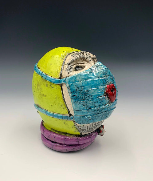 """Nurse Hot Lips W.H.O.lahan"" is a raku fired ceramic sculpture by JoAnne Bedient"