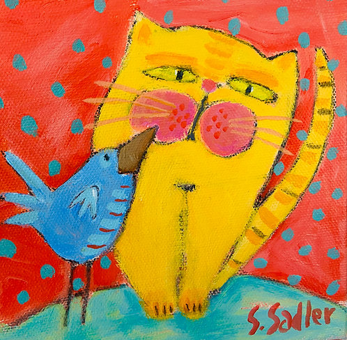 UP CLOSE TALKER original painting on canvas by Susan Sadler