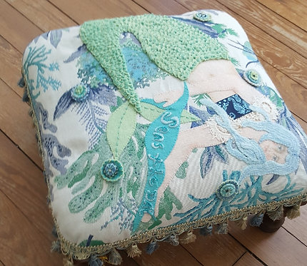 """""""Sea's the Day"""" One of A Kind Fiber Art Foot Stool by Katie Gardenia"""