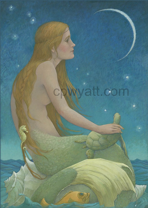 """NEW MOON""  SIGNED PRINTS -Mermaid- by Artist Christina P. Wyatt"