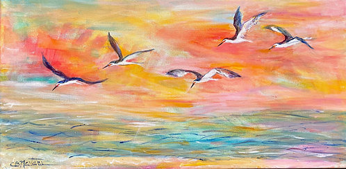 """SKIMMERS SKIMMING Is an original 12""""x24"""" acrylic painting by Carole Nastars"""