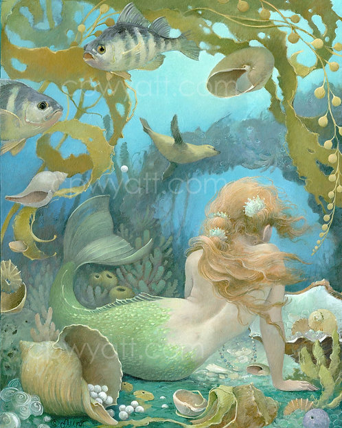 """SEA OF JEWELS"" SIGNED PRINTS -Mermaid- by Artist Christina P. Wyatt"