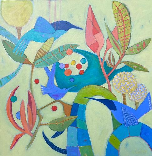 """""""GUM BALLS and BIRDIES"""" an original acrylic by Susan Sadler"""
