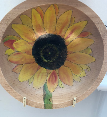 Marianne Ravenna Sunflower Original Hand Painted Maple Wood Bowl
