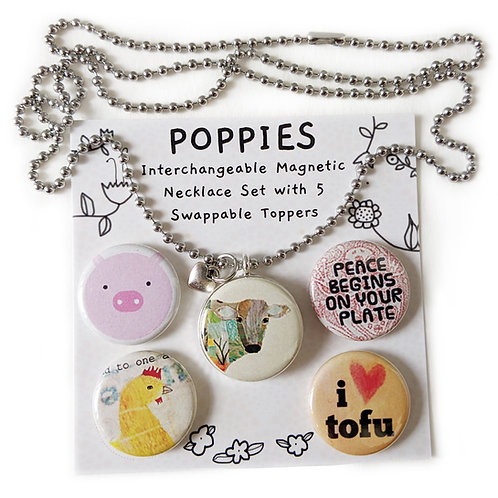 "🐷 ""🆅🅴🅶🅰🅽"" POPPIES Interchangeable Magnetic Necklace Set by Sarah Kiser"