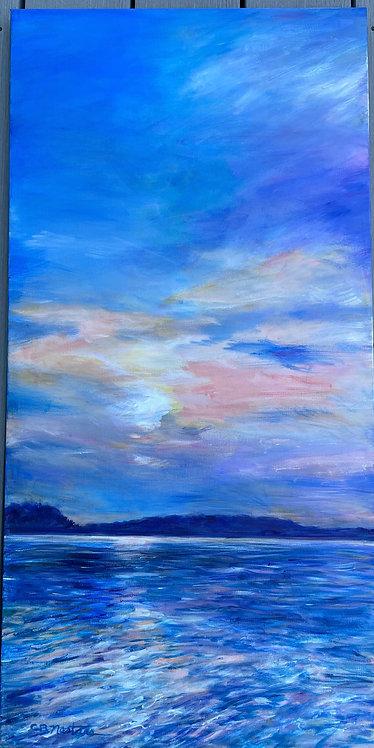 "HEAVENLY SHADES OF NIGHT original 18""x36"" acrylic painting by Carole Nastars"