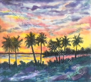 """SUNSET GLOW"" Original Sanibel sunset canvas by Lalita Lyon Cofer"