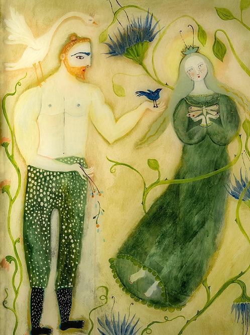 """The Gift"" Original Figurative Modern Painting by Sarah Kiser"