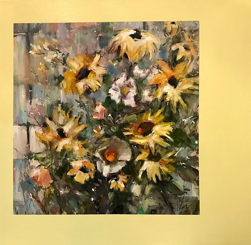 """""""Sunshine Blossoms"""" by Joan Roberts, 36X36, original oil, brightens any room"""