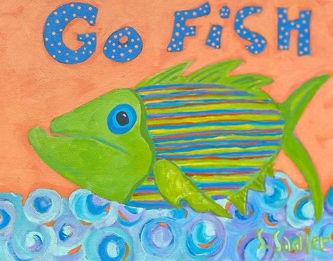 """Go Fish"" on original acrylic by Susan Sadler"