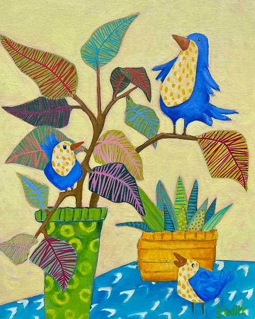 """""""The Conversation"""" is a whimsical original acrylic on canvas by Susan Sadler"""
