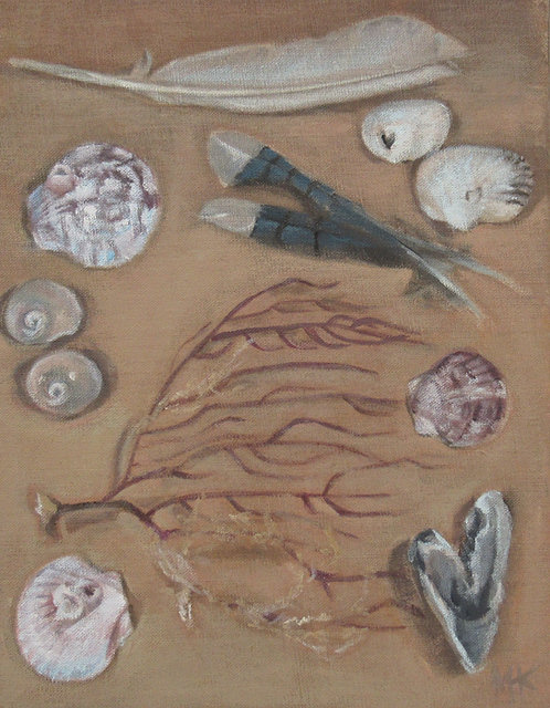 "Marti Koehler Coastal Still Life 14x11"" beach fodder coastal nature feathers"