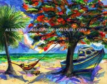 CHILLIN' AFTER THE CATCH IS IN Original Painting Lalita Lyon Cofer