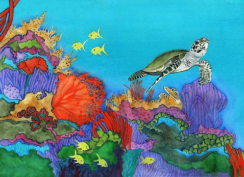 "Christine Reichow ""Underwater Rainbow"" Original Watercolor"