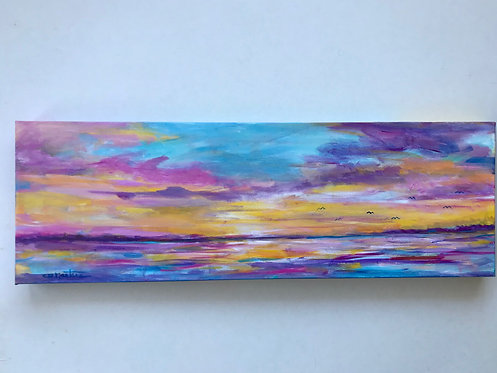 """EVENING PALETTE is an original 10""""x30"""" acrylic painting by Carole Nastars"""