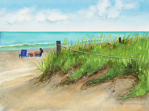 Christine Reichow To the Beach Original Watercolor