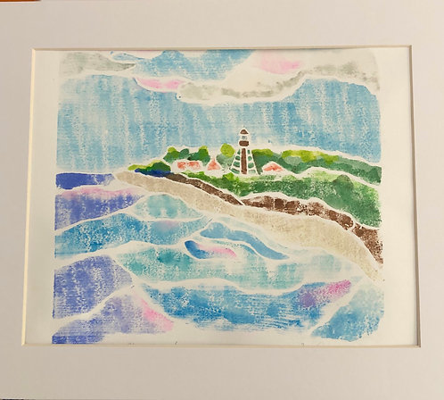 'Sanibel Lighthouse' Original White Line Wood Block by Marianne Ravenna
