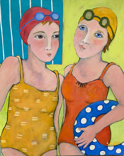"""FRIENDS are LIFESAVERS"" original acrylic $425 by Susan Sadler"