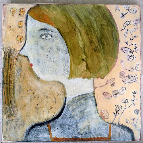 """Lucy"" 16x16 original outsider folk art painting wood by Sarah Kiser"