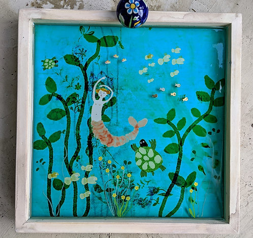"""Georgina"" 3-d Mermaid Under the Sea Mermaid Diorama by Sarah Kiser"
