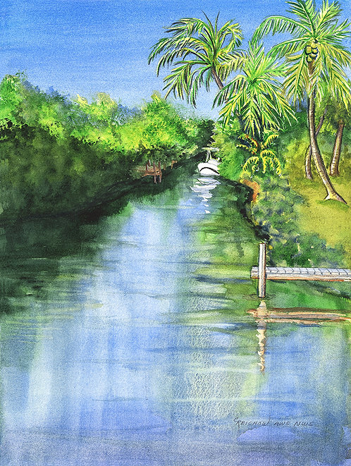 """Waterway"" Original Watercolor painting by Christine Reichow"
