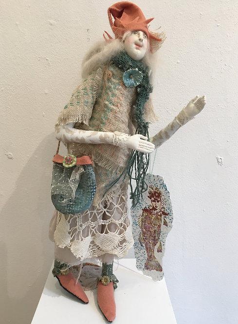 """BESTY"" One of a kind fiber art doll created by KATIE GARDENIA"