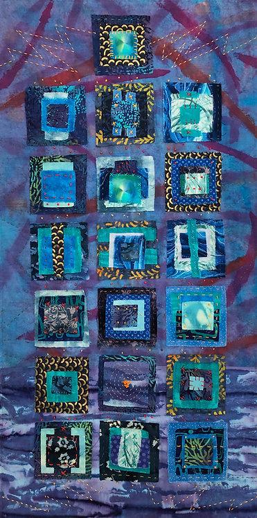 """C-19 Blues"" Fiber Art by Sally Dutko"