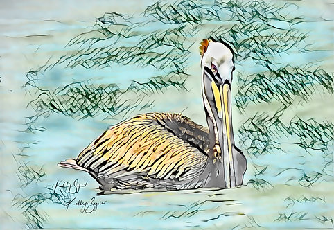 Mini Pelican Print on Metal by Kathryn Seguin Photography