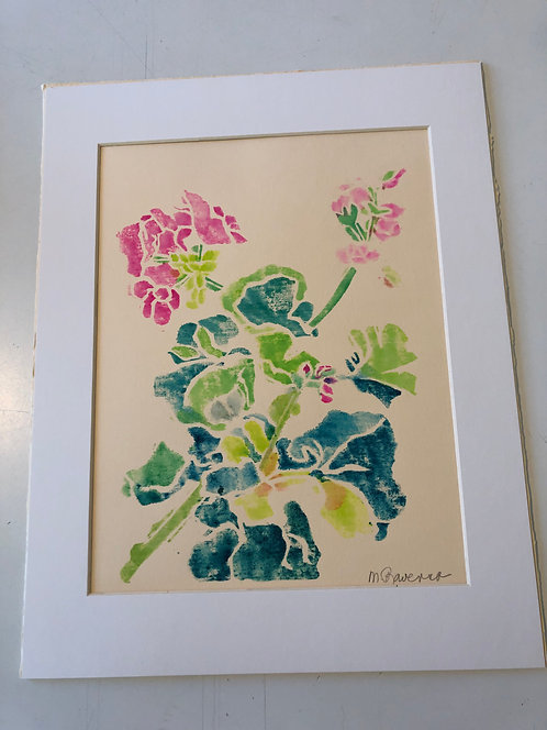 Geraniums, Original White Line Wood Block Print by Marianne Ravenna