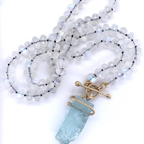 Kathleen Dennison Necklace Faceted Rainbow Moonstone Beads Aquamarine 14k Gold