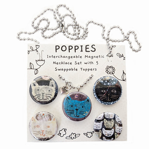 Maisie & Friends Cats Interchangeable Magnetic Necklace Set by Sarah Kiser