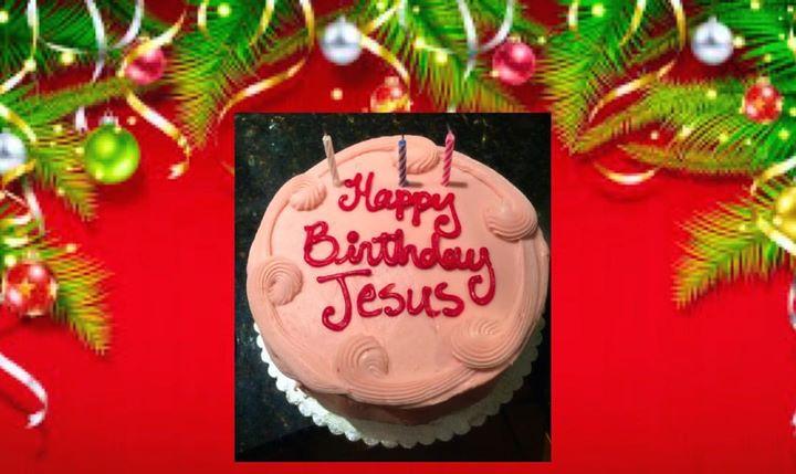 Happy Birthday Jesus! _Your strawberry birthday cake is just heavenly! 😉🌈🙏🏻🎄🙌🏻😇🎂💖