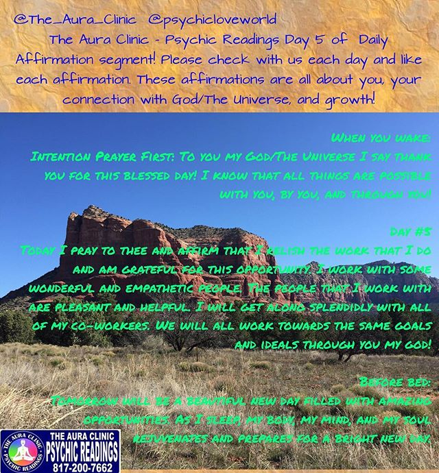 Please enjoy Day 5 of our 8 Day Daily Affirmation segment! _Many blessings!! Don't forget to share w