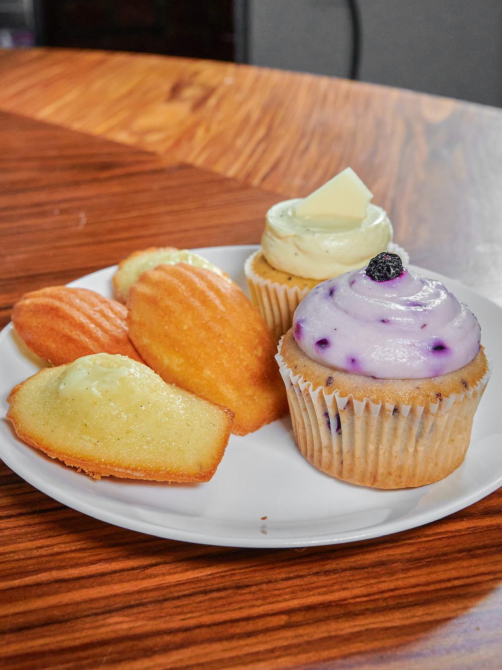 Madeleines, earl grey cupcake, blueberry cupcake