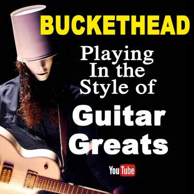 Buckethead playing in the style of guita