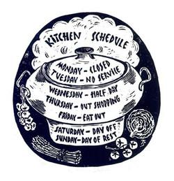 Kitchen Schedule - Linocut