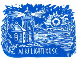Alki Light House - Linocut