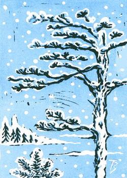 Snowy Trees - Linocut