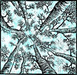 Blue Forest - Linocut (unlimited)
