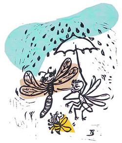 Rainy Day- Linocut