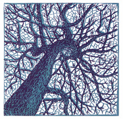 Tangled Up in Blues - Linocut