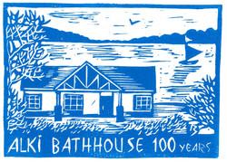 Alki Bath House - Linocut