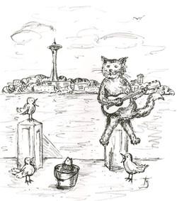 Kitty Musician - Litograph