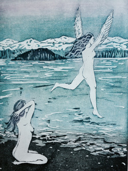 Flying over the Puget Sound - Etching