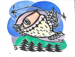 Owl Spy - Linocut and Watercolor