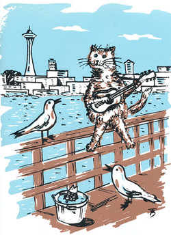 Serenading Seagulls  - Silk Screen