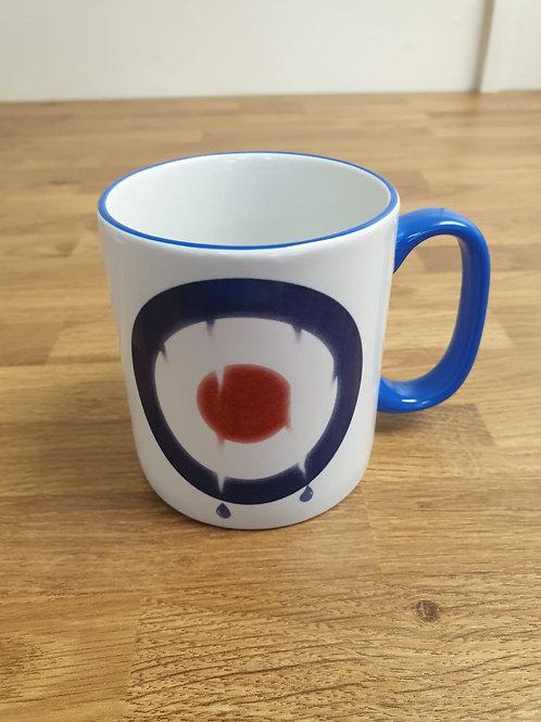 Exclusive Blue Rimmed Mod Mug