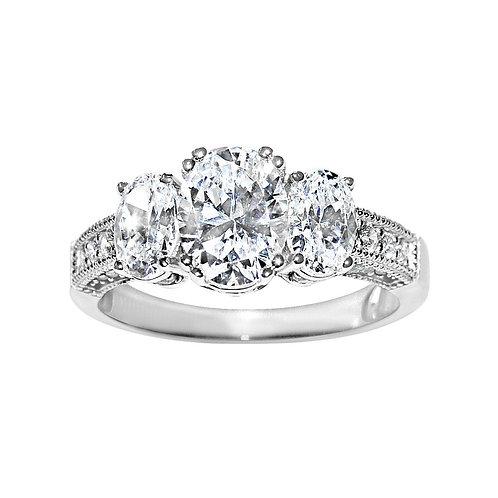 14k White Gold 2 1/3ct TGW Oval-cut Diamonette Engagement Ring
