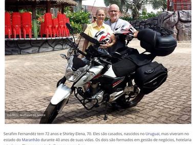 Casal de idosos vende tudo para viajar o mundo de motocicleta.