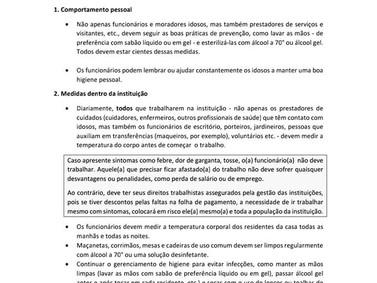 Diretrizes para instituições para pessoas idosas em um contexto de infecção pelo Covid-19 (Coronavír
